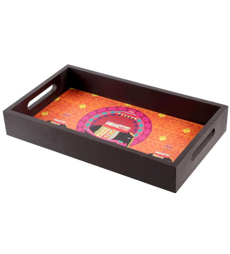 The Elephant Company Elephant Butti Wooden Rectangle Tray
