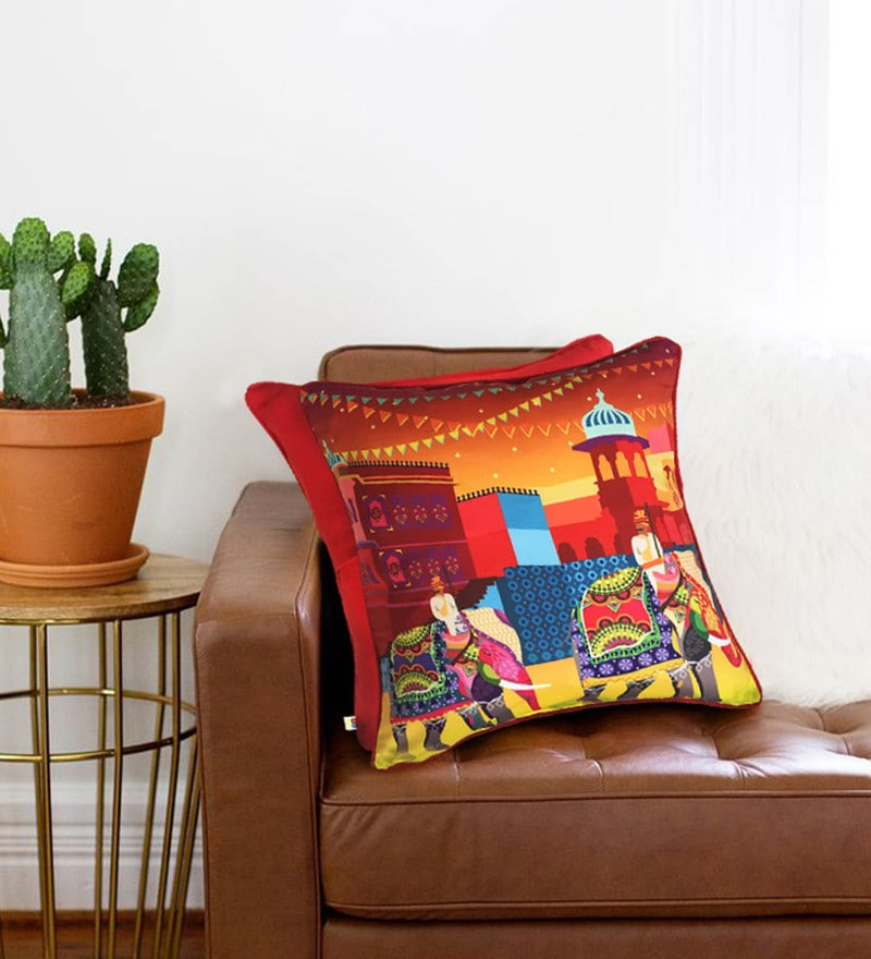 Multicolour Cotton 16 x 16 Inch Royal Elephant Journey Cushion Cover by The Elephant Company