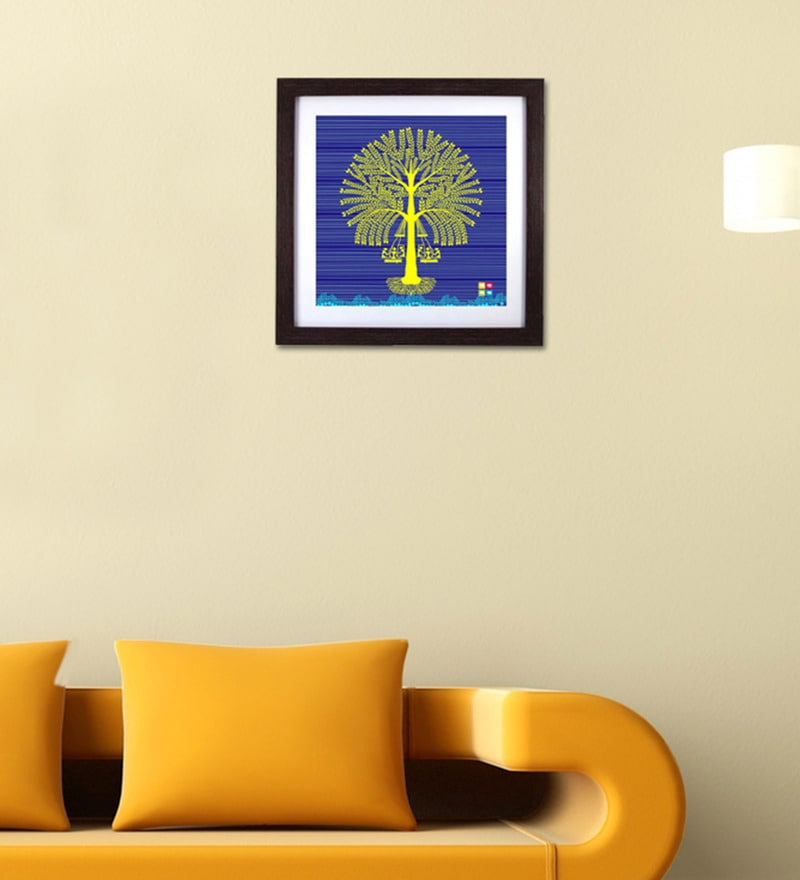 Multicolour Wood & Acrylic Blue Tree Warli Framed Wall Art by The Elephant Company