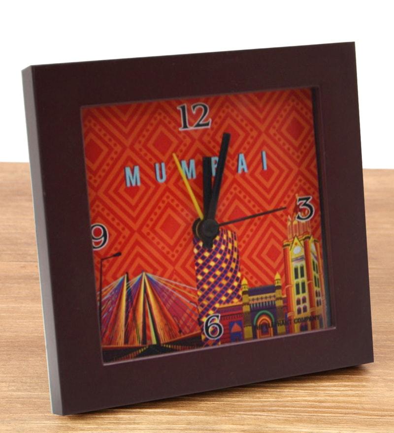 Multicolour Glass & Plastic 5.6 x 2 x 5.6 Inch Mumbai Cityscape Alarm Clock by The Elephant Company