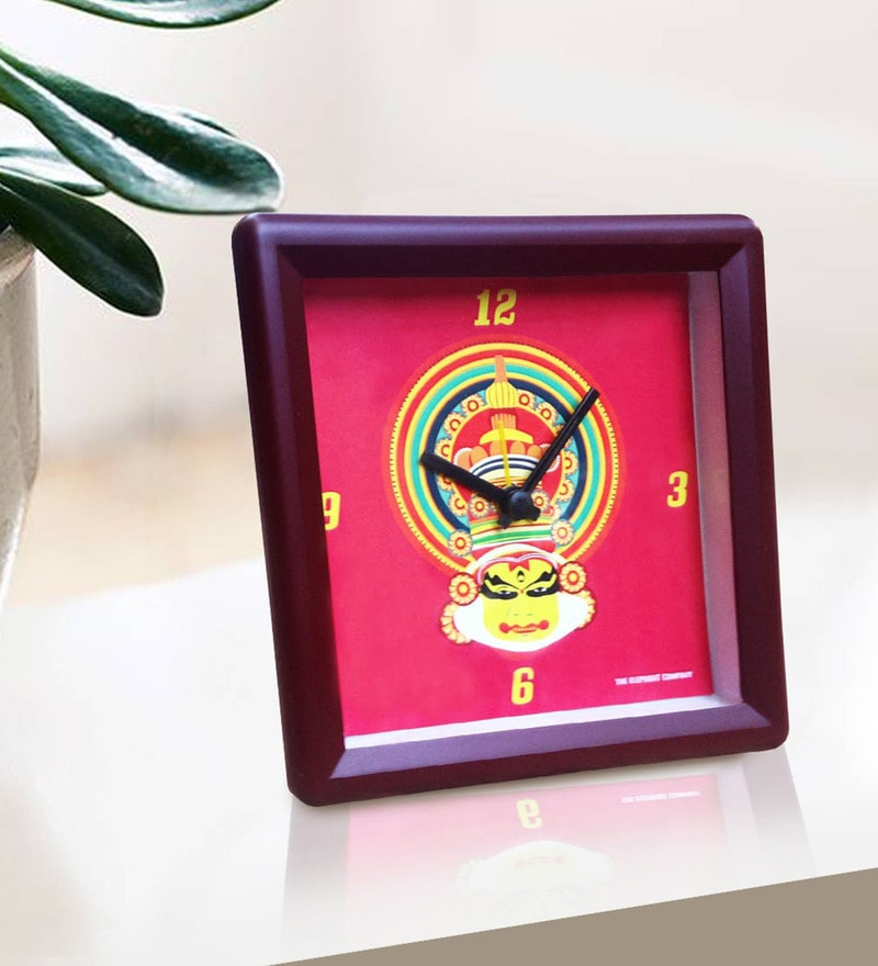 Red Plastic & Acrylic Kathakali Face Alarm Clock by The Elephant Company