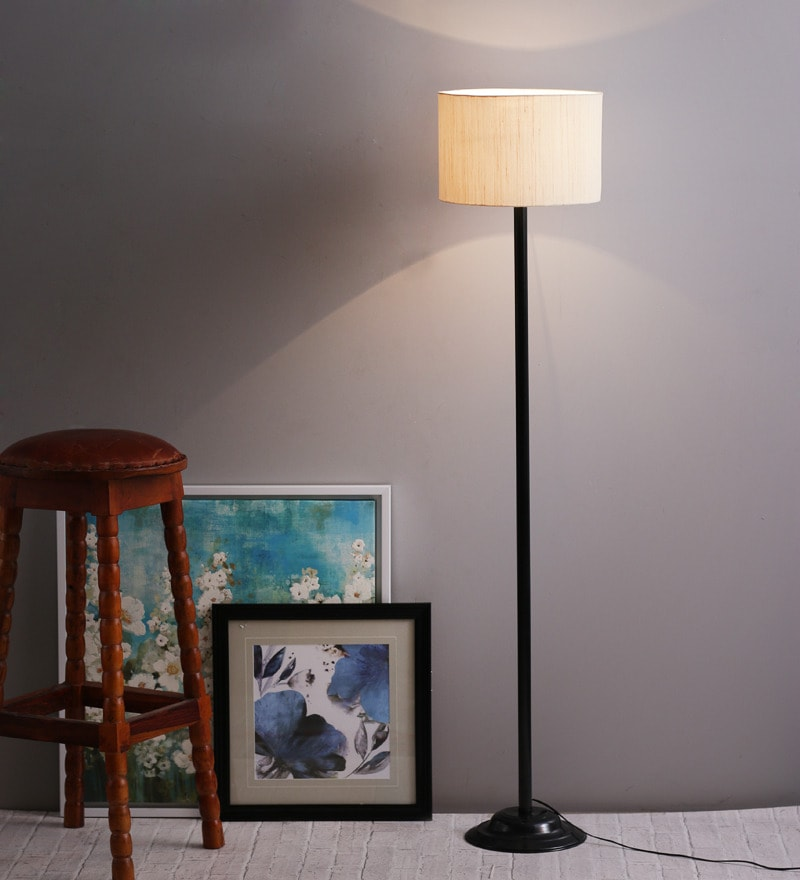 Off-White Shade Metal Floor Lamp by The Light House