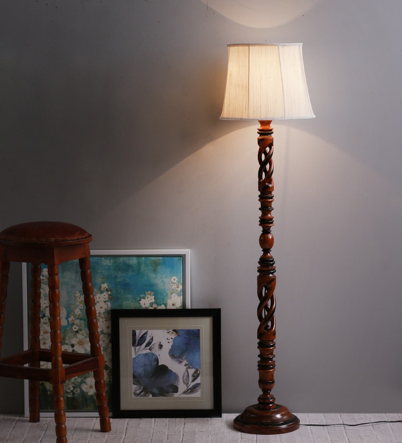 Off-White Twisted Wood Floor Lamp by The Light House