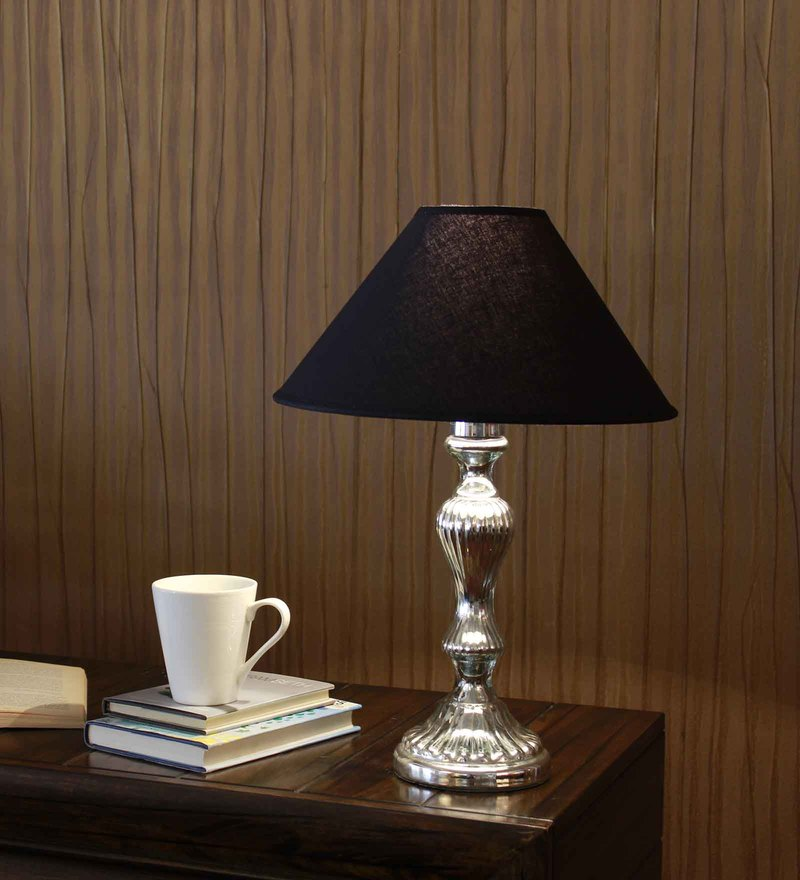Black Cotton Table Lamp by Kapoor E Illuminations