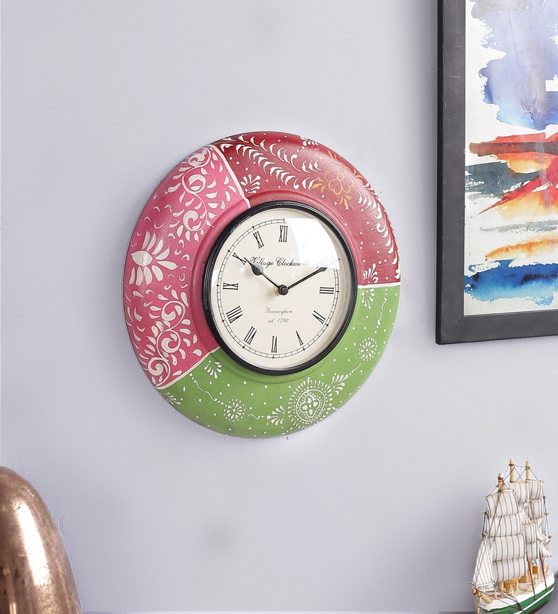 e5cf619f3c Buy Multicolour Wood Wall Clock by Kalaaplanet Online - Indian ...