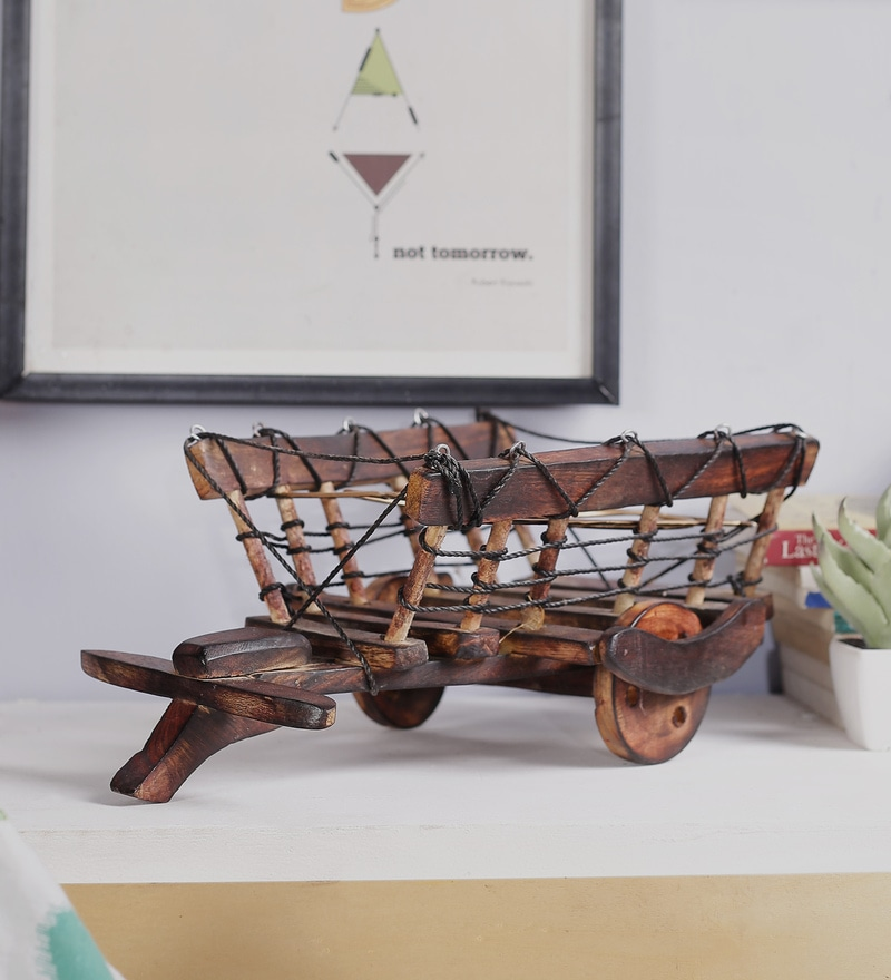 Brown Mango Wood & MDF Jodhpuri Antique Glass Bullock Cart by Nandani Wood
