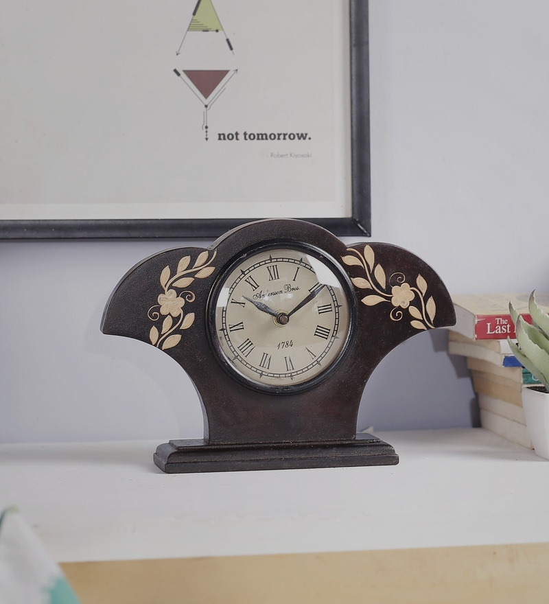 Black Mango Wood & MDF Table Clock by Nandani Wood