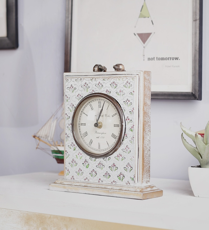 White Mango Wood & MDF Table Clock by Nandani Wood