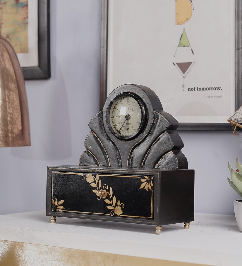 Black Mango Wood & MDF Table Clock with Drawer Box by Nandani Wood