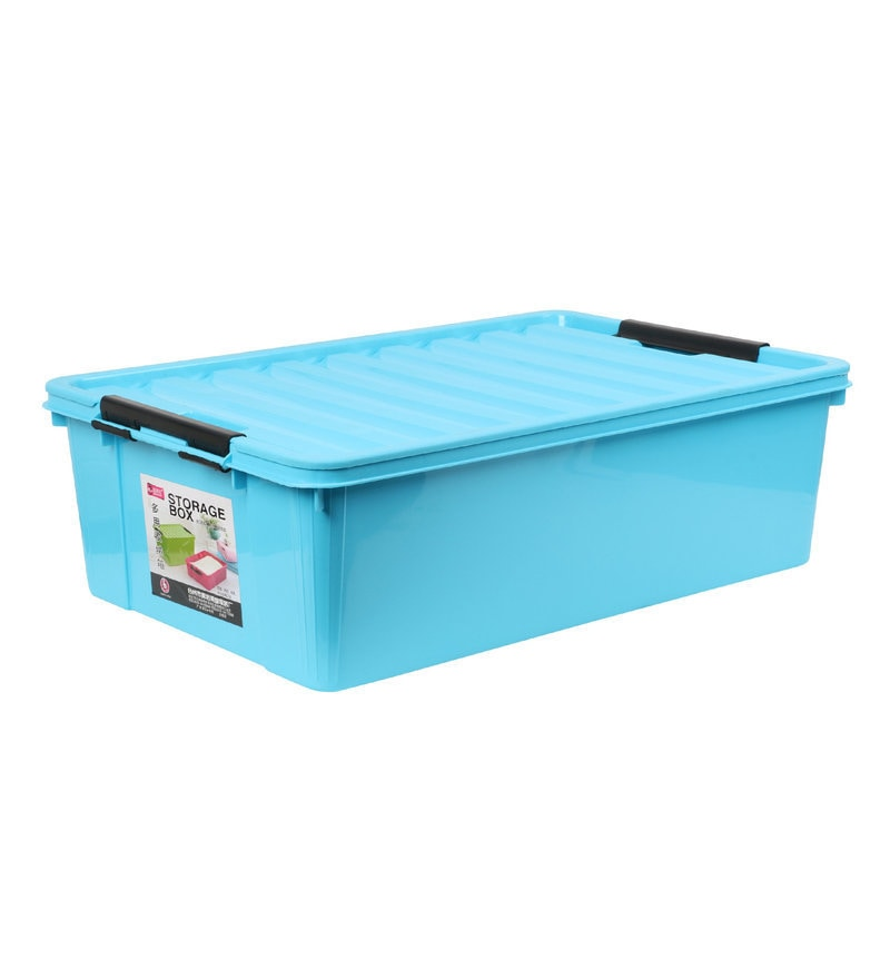 The Quirk Box Multipurpose Plastic Blue 40 L Storage Box with Lid