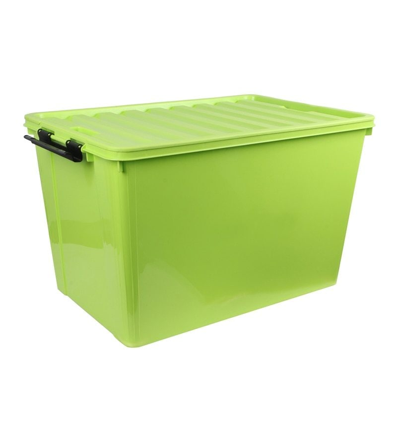 The Quirk Box Multipurpose Plastic Green 60 L Storage Box with Lid