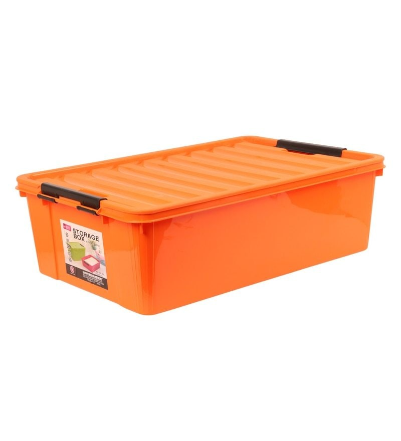 The Quirk Box Multipurpose Plastic Orange 40 L Storage Box with Lid