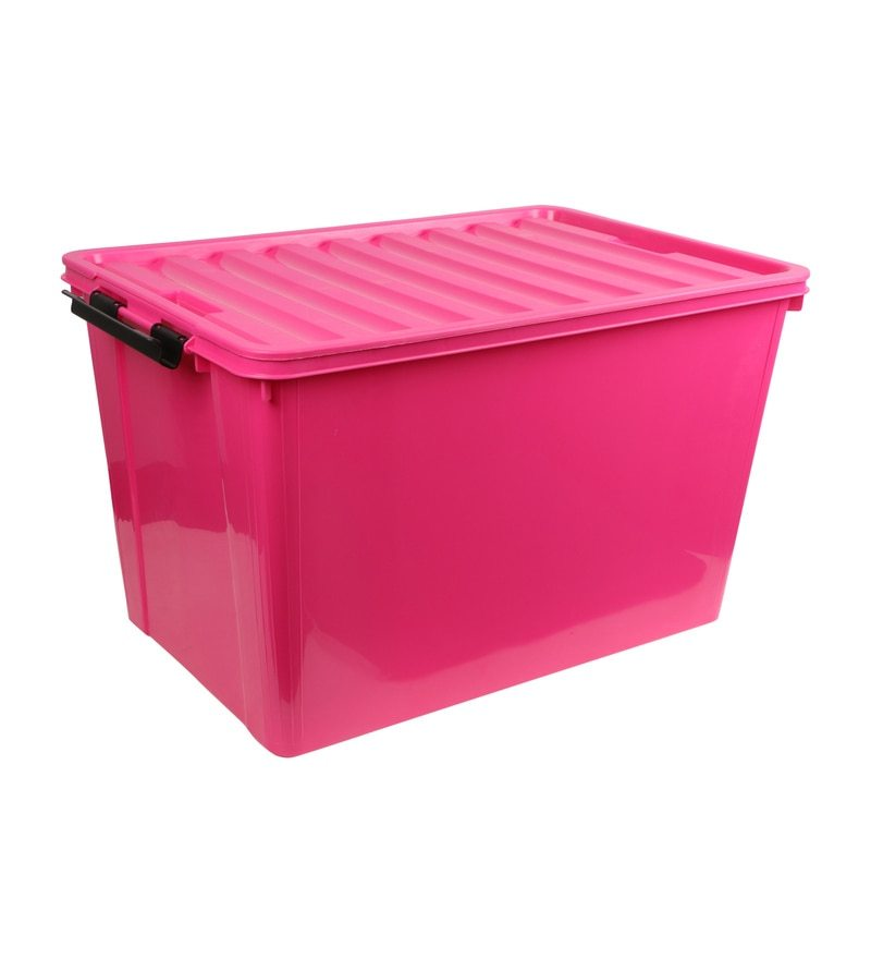 The Quirk Box Multipurpose Plastic Pink 60 L Storage Box with Lid