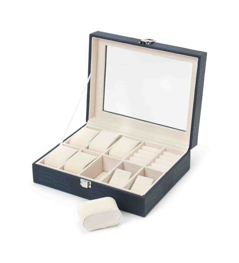 Premium 10 Slots Leather Blue Watch & Jewellery Box by The Quirk Box
