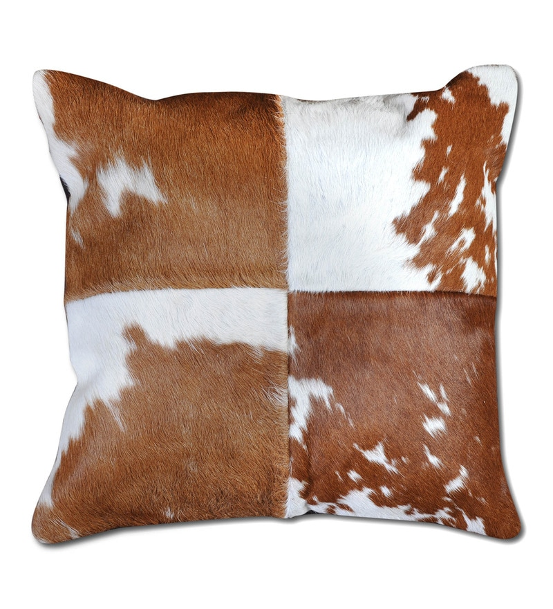 Brown & White Natural Hide 18 x 18 Inch Oxford Cushion Cover with Insert by The Rug Republic