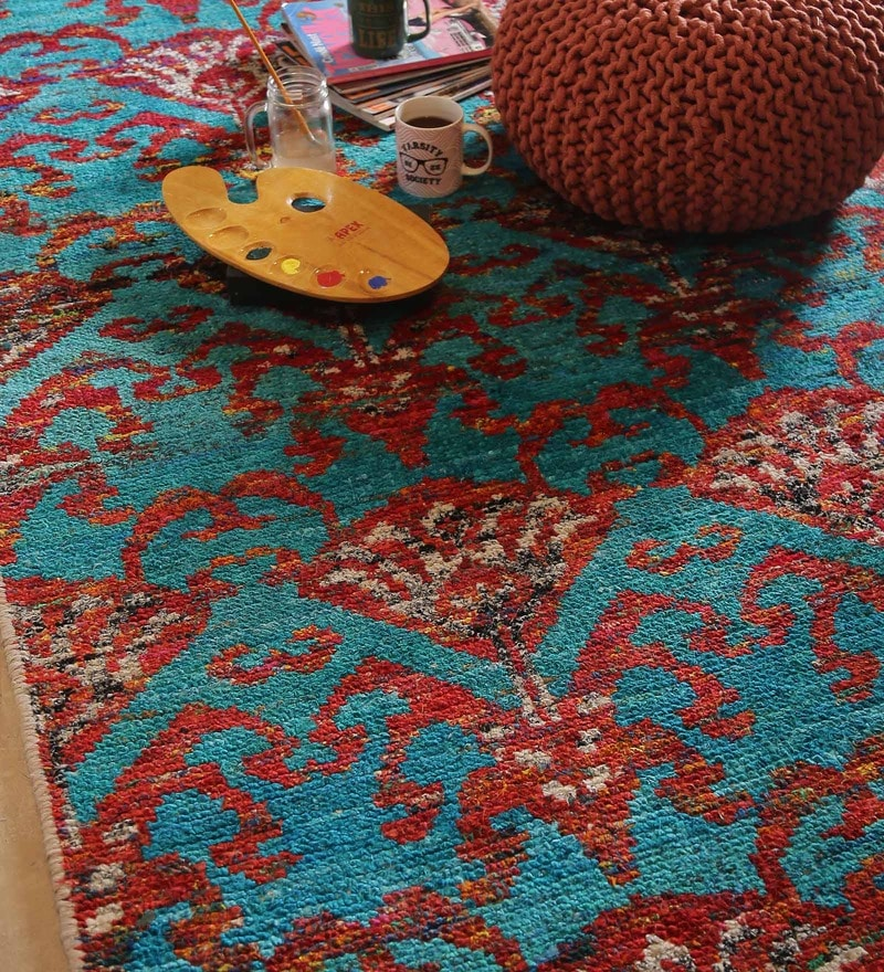 Multicolour Viscose Floral Hand Knotted Area Rug by The Rug Republic