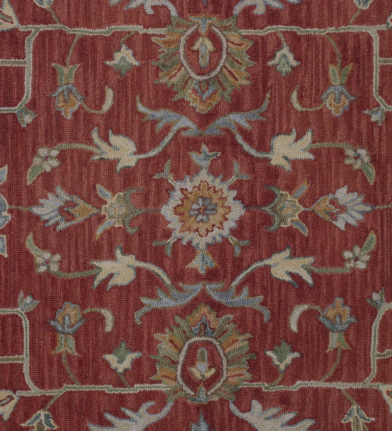 Buy Rust Wool Indian Ethnic Carpet By The Rug Republic