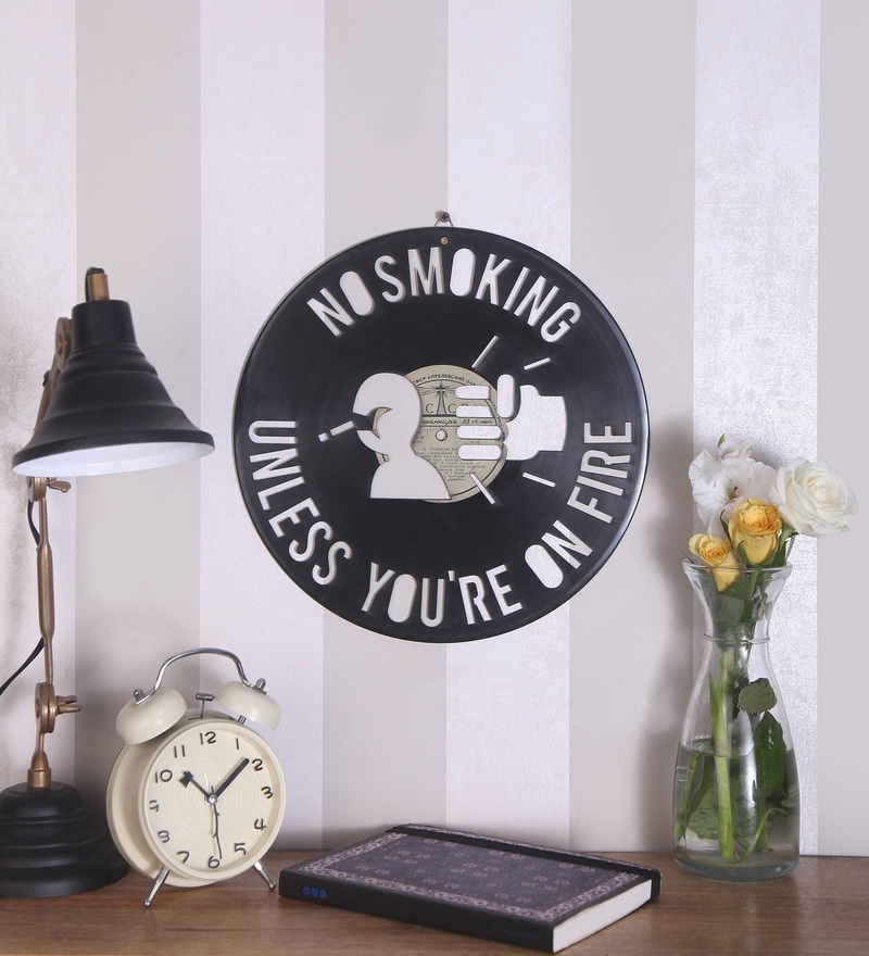 Black Vinyl Record No Smoking Unless You're on Fire Wall Sticker by The Upcycle Project