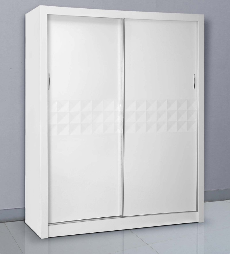 Theia Wardrobe with Sliding Doors in Glossy White Finish by @home