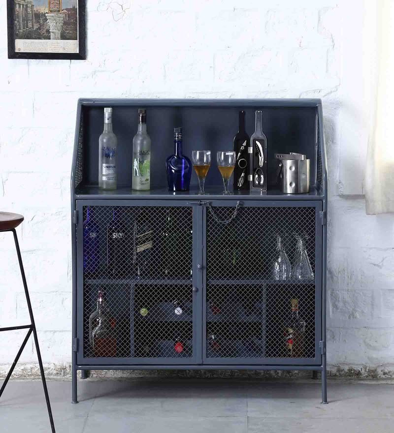 Thompson Bar Cabinet in Grey Colour by Bohemiana