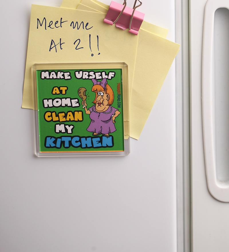 Green Plastic & Paper Make Urself At Home Fridge Magnet by Thoughtroad