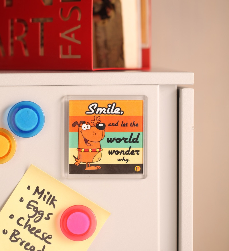 Multicolour Plastic & Paper Smile & Let The World Wonder Fridge Magnet by Thoughtroad