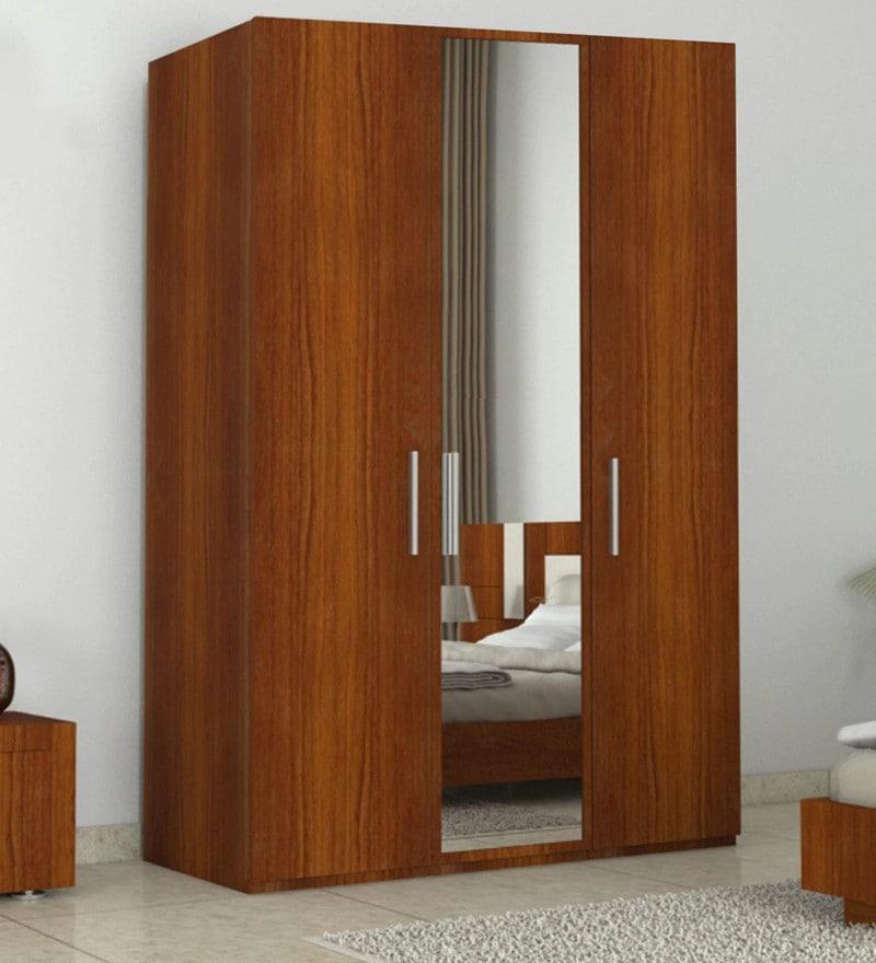 Three Door Wardrobe with Mirror in Bird Cherry Finish in MDF by Primorati