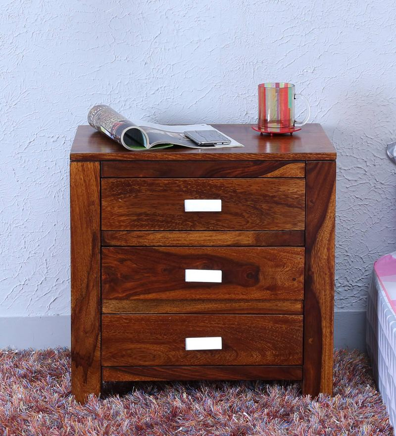 Oriel Three Drawer Bed Side Table in Honey oak Finish by Woodsworth