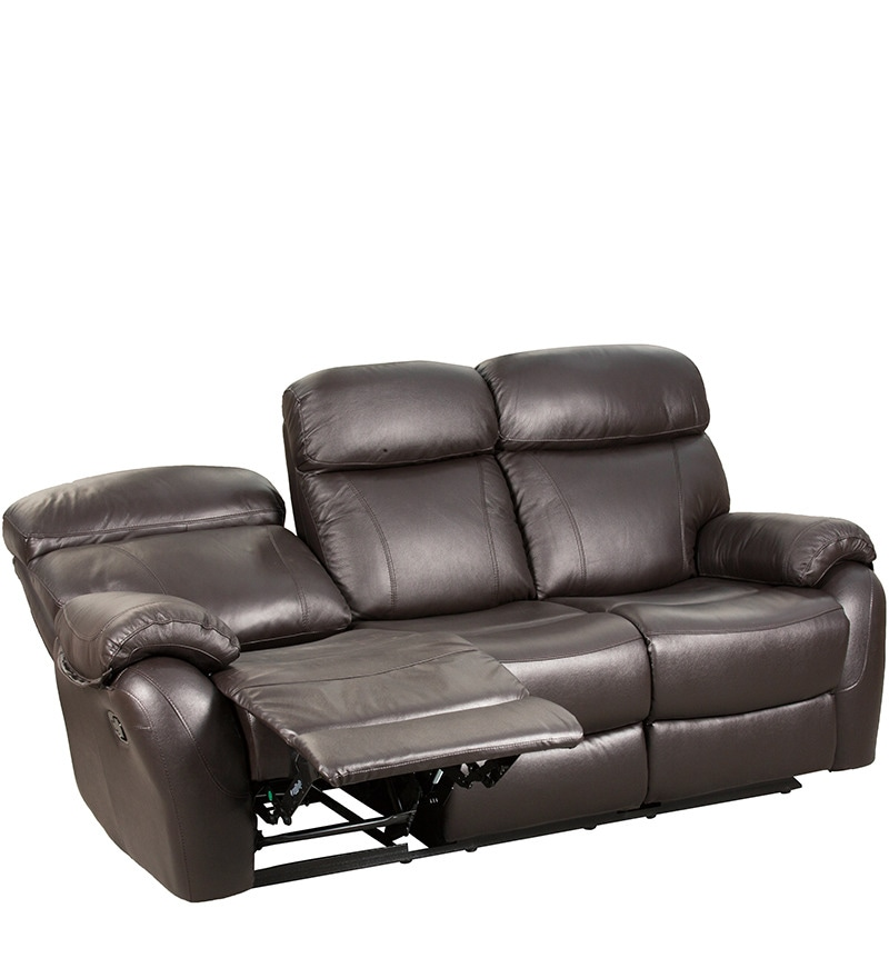 Fabulous Three Seater Half Leather Sofa With 2 Manual Recliners In Brown Colour By Star India Pabps2019 Chair Design Images Pabps2019Com