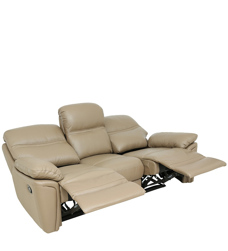 Buy Three Seater Sofa With 2 Manual Recliners In Taupe
