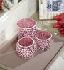 Deeprabha Tea Light Holders Set of 3 in Pink by Mudramark