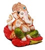 The Nodding Head Multicolor Polyresin Sitting on Flower Ganesha Statue