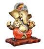 The Nodding Head Golden Polyresin Ganesha Sitting on Wooden Base in Orange Dhoti