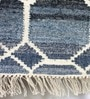 Blue & Ivory Denim & Wool Geometric Hand Woven Area Rug by The Rug Republic