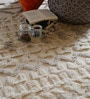 The Rug Republic Ivory Wool Geometric Hand Knotted Pattern Carpet