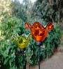 The Yellow Door Orange & Green Iron Garden Stake Flower T-Light Holder Set