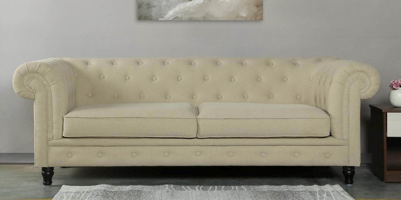 Tierra Three Seater Sofa in Beige Colour by CasaCraft