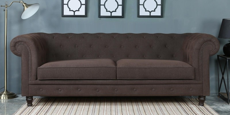 Tierra Three Seater Sofa in Chestnut Brown Colour by CasaCraft