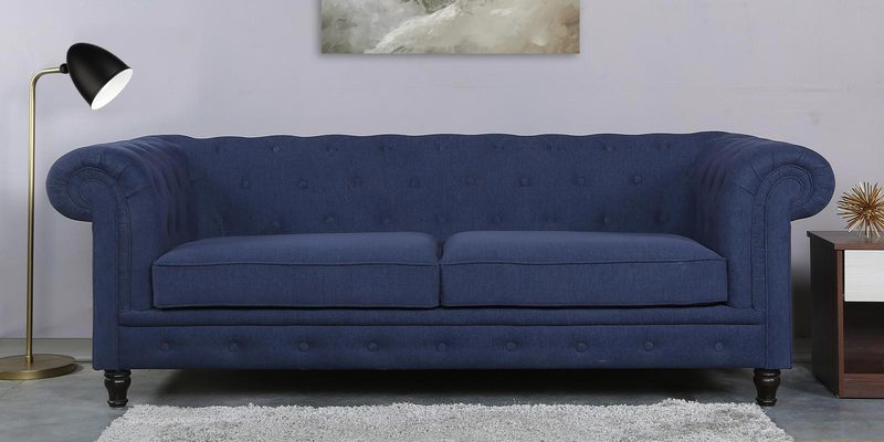 Tierra Three Seater Sofa in Navy Blue Colour by CasaCraft