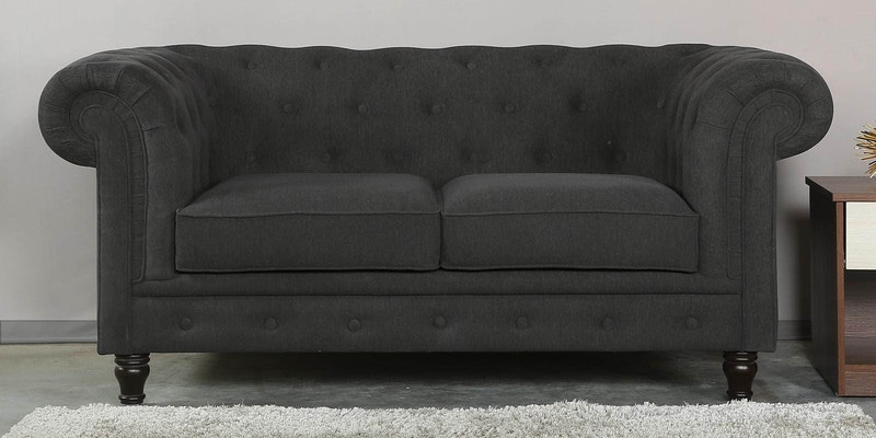 Tierra Two Seater Sofa in Charcoal Grey Colour by CasaCraft