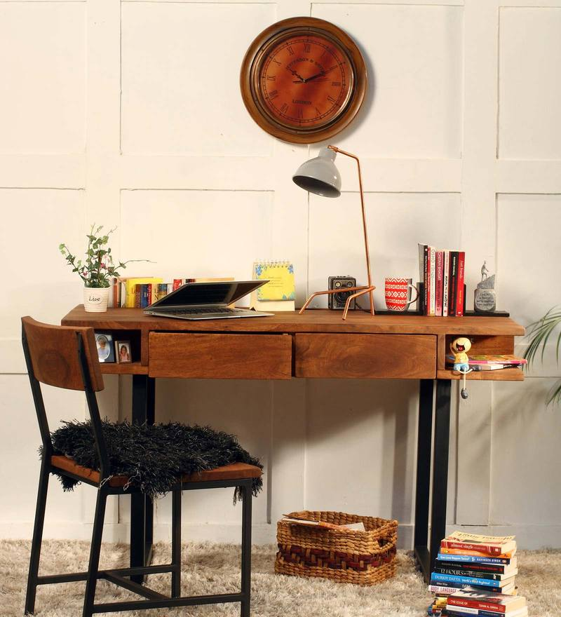 Tiber Study & Laptop Table with Chair in Premium Acacia Finish by Woodsworth
