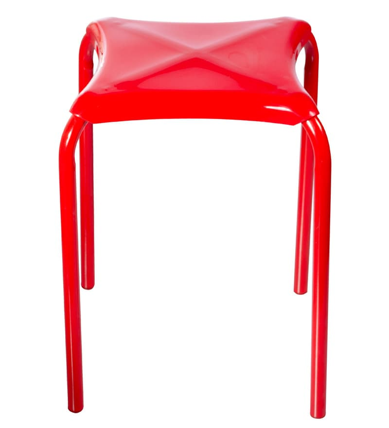 TidyHomz Indus Red Metal & Plastic 1.5 Ft Stackable Stools - Set of 2