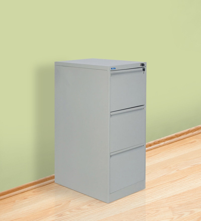 Titan Three Drawer Filing Cabinet in Grey Colour by Nilkamal