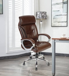 Tokyo High Back Executive Chair In Brown Leatherette