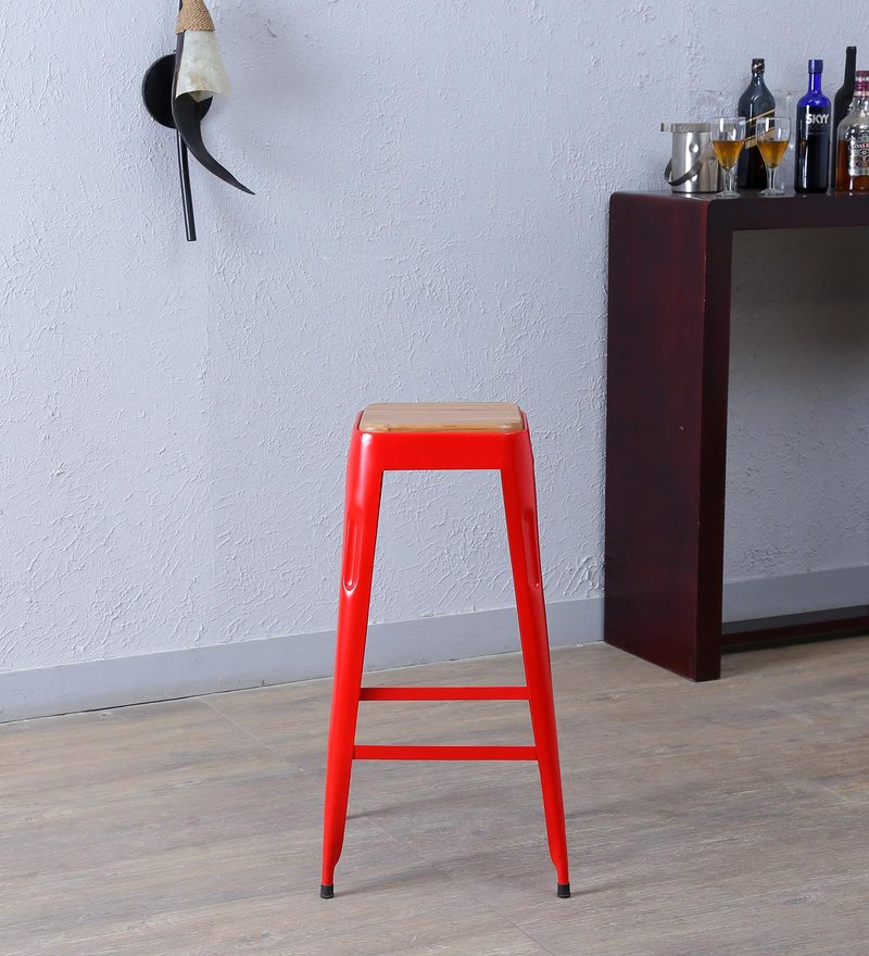 Tosh Bar Stool in Red Colour by Bohemiana