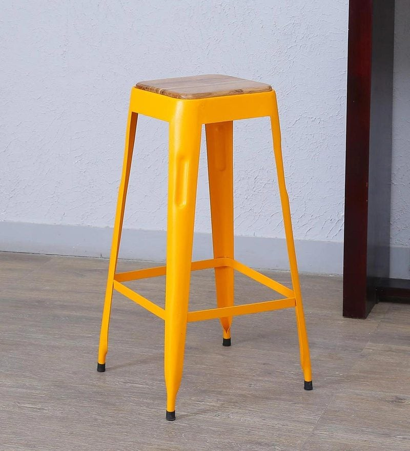 Tosh Bar Stool in Yellow Color by Bohemiana