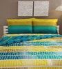 Tomatillo Blue and Yellow Cotton Queen Size Bedding Set - Set of 4