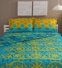 Tomatillo Multicolour Cotton Queen Size Bedding Set - Set of 4