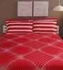 Tomatillo Red Cotton Queen Size Bed Sheet - Set of 3