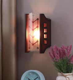 Transparent And Brown Glass And Wood Wall Mounted Light